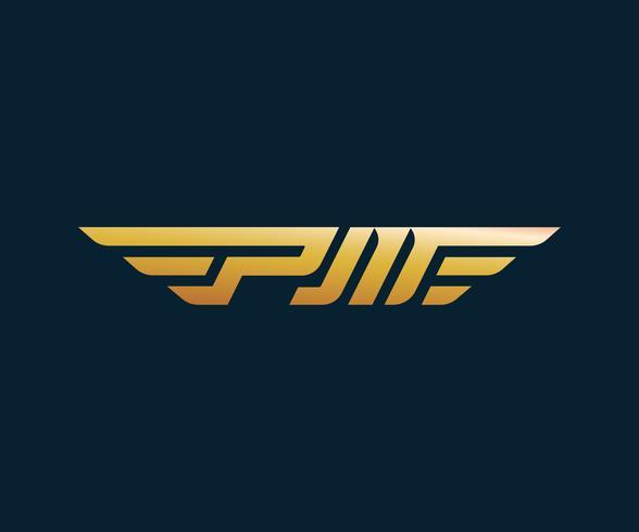 brev PM-vinge logotyp design koncept mall vektor