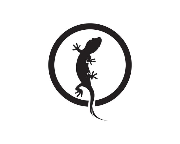 Eidechsen-Chamäleon-Gecko-Schattenbildschwarzvektor 10 vektor