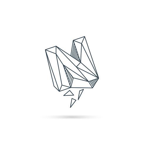 Logo-Designikonenschablonen-Vektorelement des Edelsteinbuchstaben n lokalisiert vektor