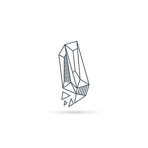 Logo-Designikonenschablonen-Vektorelement des Edelsteinbuchstaben I lokalisiert vektor