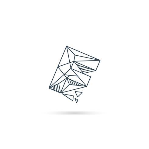 Logo-Designikonenschablonen-Vektorelement des Edelsteinbuchstaben f lokalisiert vektor