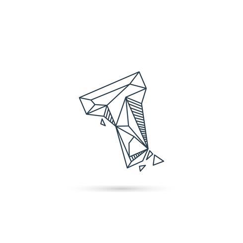 Logo-Designikonenschablonen-Vektorelement des Edelsteinbuchstaben t lokalisiert vektor