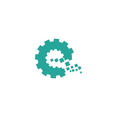 brev e teknologi idé logotyp mall vektor illustration