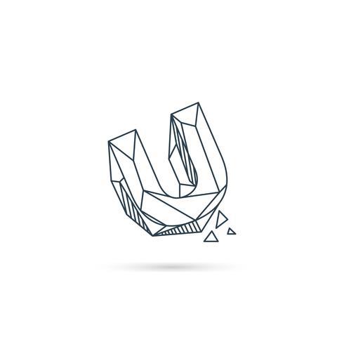 Logo-Designikonenschablonen-Vektorelement des Edelsteinbuchstaben u lokalisiert vektor