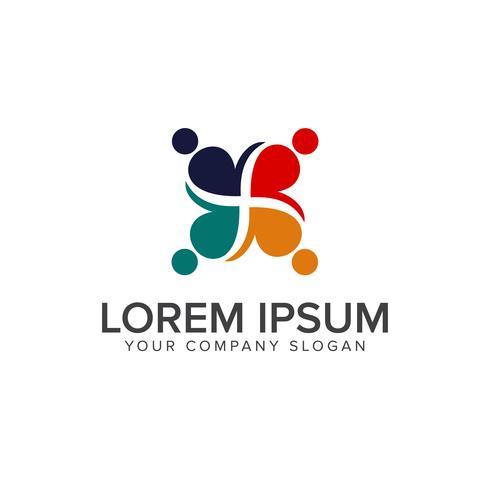 Teamarbeit Menschen Logos Design-Konzept-Vorlage vektor