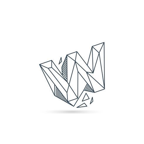 Edelstein Buchstabe w Logo Design Symbol Vorlage Vektorelement isoliert vektor