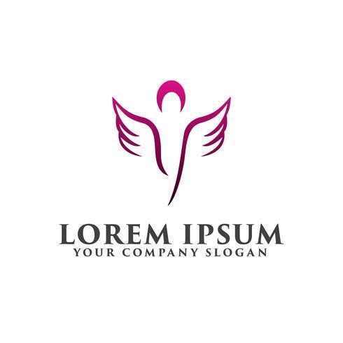 Kosmetik och skönhet vinge människor Logos design koncept mall vektor