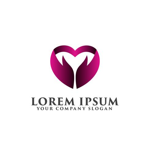 Hand Liebe Logo-Design-Konzept-Vorlage vektor