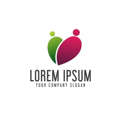 Datierung der romantischen Leute Logodesign-Konzeptschablone vektor
