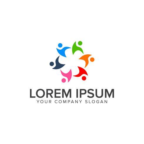 Teamwork-Menschen-Logo-Design-Konzept-Vorlage vektor
