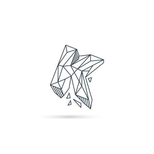 Edelstein Buchstabe k Logo Design Symbol Vorlage Vektorelement isoliert vektor