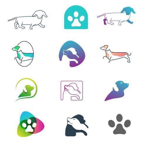 Hund Logo Line-Konzept des Entwurfesvektor-Ikonenelement lokalisiert vektor