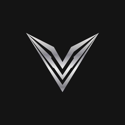 brev v logo. lyxig metall logotyp koncept mall vektor