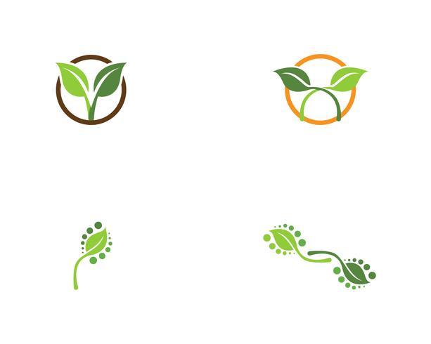 gröna blad ekologi naturelement vektor ikoner
