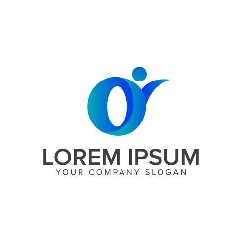människor med brev O logo design koncept mall vektor