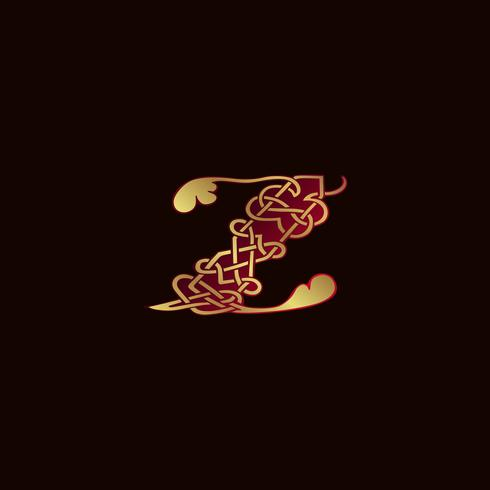 lyxbrev Z Dekoration Logo design koncept mall vektor