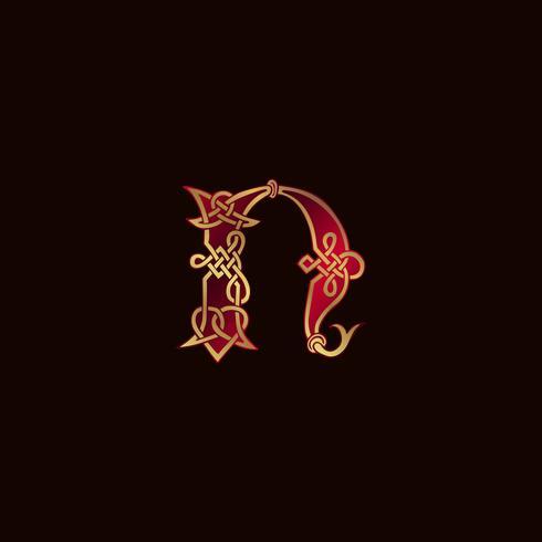 Luxus Buchstabe N Dekoration Logo-Design-Konzept-Vorlage vektor
