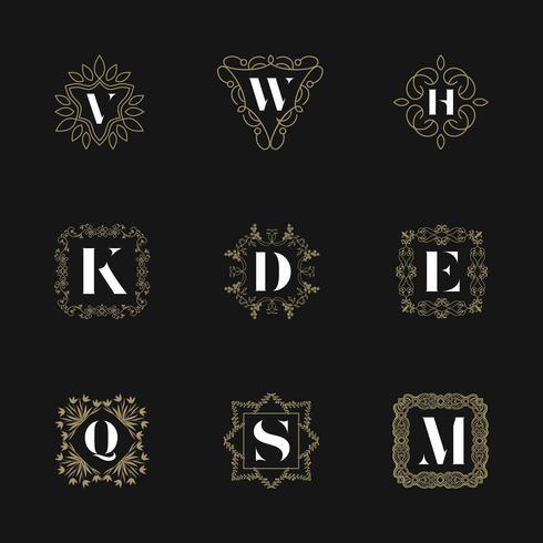 Monogramm Emblem Abzeichen festgelegt. Kalligraphische Logo Ornament Vektor