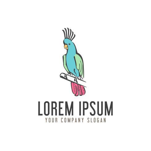 Papageienvogel-Logo. Hand gezeichnete Design-Konzept-Vorlage vektor