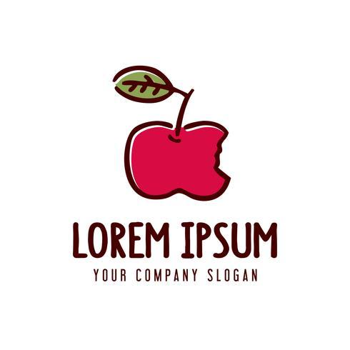 Apfelfrucht-Logo. Hand gezeichnete Design-Konzept-Vorlage vektor