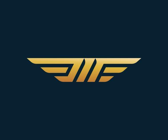 brev M vinge logotyp design koncept mall vektor