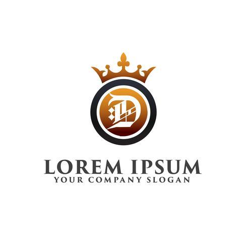 lyx brev D Dekoration med Crown Logo design koncept mall vektor