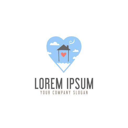 älska hem sött i molnet logotyp design koncept mall vektor