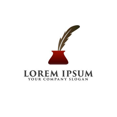 fjäder penna logo design koncept mall vektor