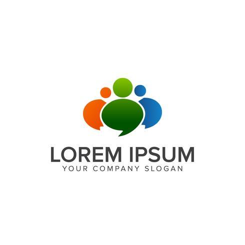 Netzwerkkommunikation Menschen Logo-Design-Konzept-Vorlage vektor