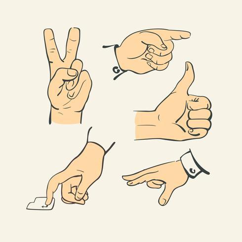 Handfingersammlung - Retrostilillustrationsvektor vektor