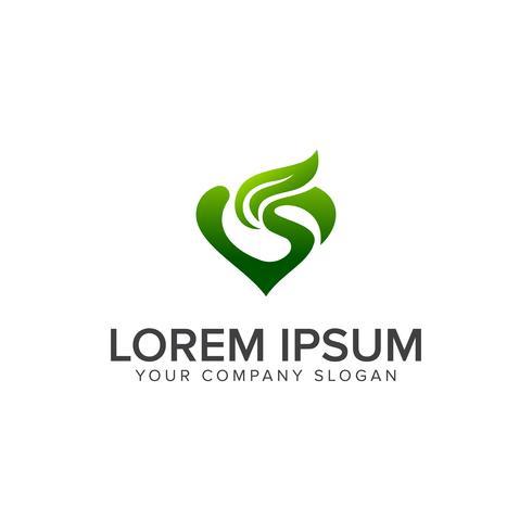 Liebe grüne Logo-Design-Konzept-Vorlage vektor