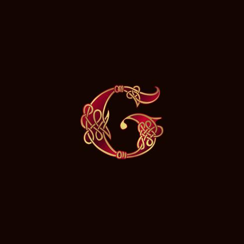 lyx brev G Dekoration Logo design koncept mall vektor