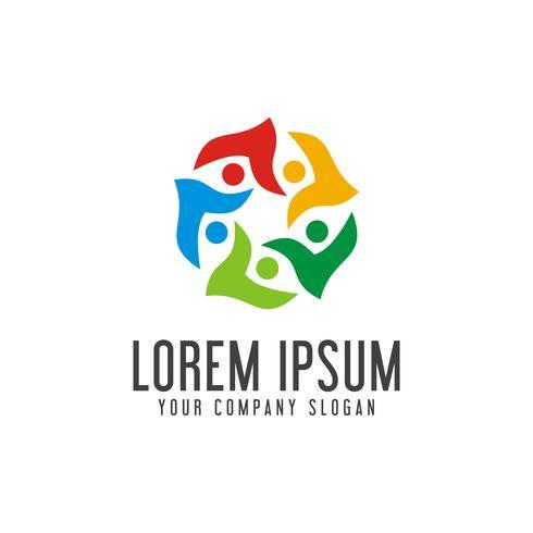 kommunikation grupp människor Logos. community logo design koncept vektor