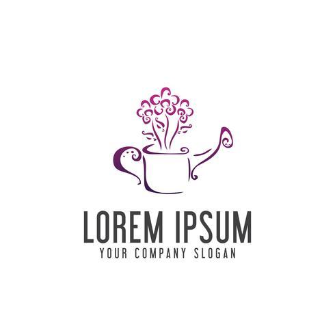 Gießen Sie das Blumen-Logo. Garten-Konzept Logo Design Design vektor