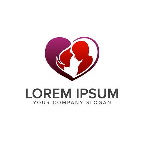 kärlek moder logo design koncept mall vektor