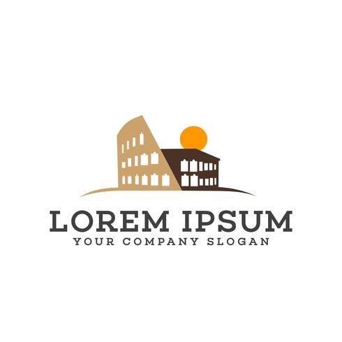 Gebäude Rom Logo-Design-Konzept-Vorlage vektor
