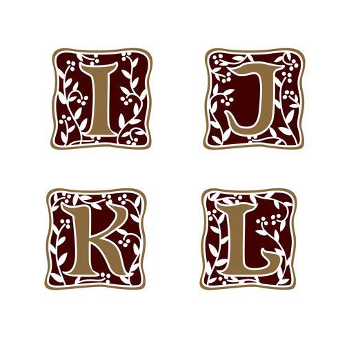 Dekoration Brev I, J, K, L logo design koncept mall vektor