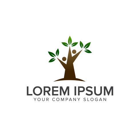 Baum Menschen Logo-Design-Konzept-Vorlage vektor