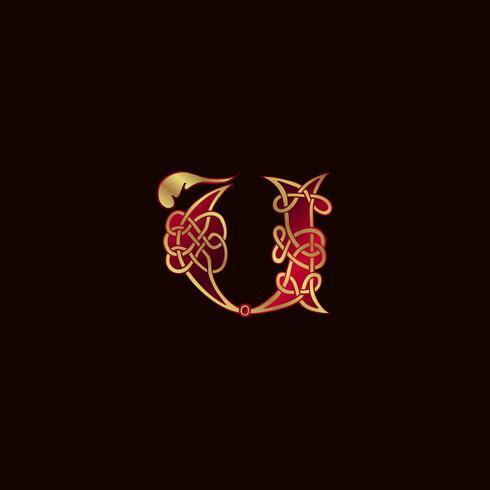 Luxus Buchstabe U Dekoration Logo-Design-Konzept-Vorlage vektor