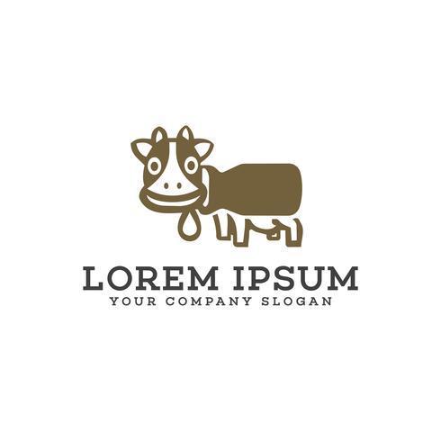 Süße Kuh-Logo-Design-Konzept-Vorlage vektor