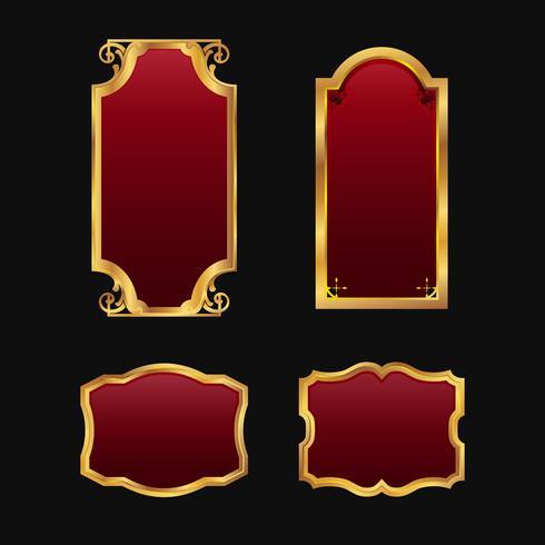 Etiketter med 3D dekorativa röda gyllene ramar samlingsset vektor