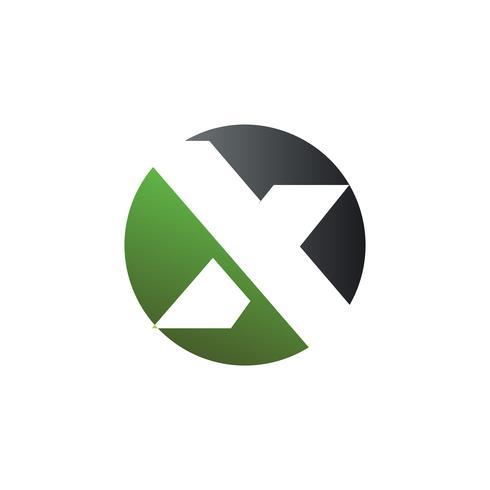 brev x rund logotyp koncept mall vektor