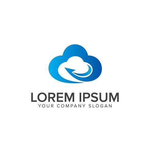 Technologie Cloud Logo Design-Konzept-Vorlage vektor