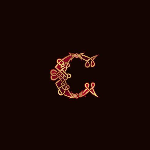 Luxus Buchstabe C Dekoration Logo-Design-Konzept-Vorlage vektor