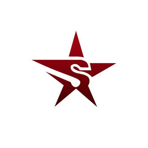 brev S stjärna Logo design koncept mall vektor