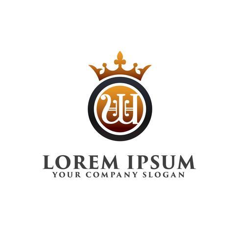lyx brev W Dekoration med Crown Logo design koncept mall vektor
