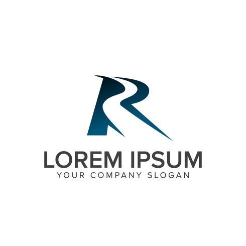 Väg med Letter R logo design koncept mall vektor