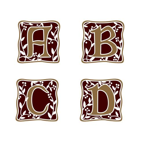 Dekoration Brev A, B, C, D logotyp design koncept mall vektor