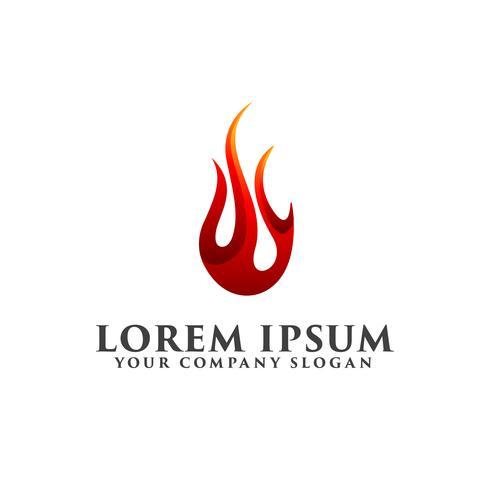 Feuertropfen-Logo-Design-Konzept-Vorlage vektor