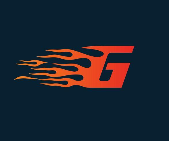 Brev G flamma logotyp. hastighet logotyp design koncept mall vektor